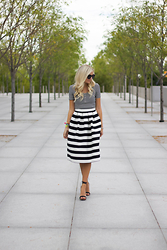 Kylee Snelgrove - Topshop Striped Skirt, Topshop Striped Crop Top, Steve Madden Faithful, Karen Walker Super Duper - Striped.