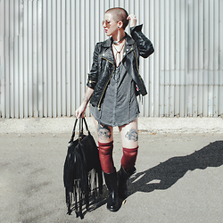 Jessie Bee - Betsey Johnson Embroidered Jacket, Free People Heart Of Gold Top, Free People Thigh High Socks, Harley Davidson Baisley Boot, Remi And Reid Fringe Bag, Lovestrength Head Concho Choker, Freyrs Addison Sunglasses - Motorcycle Boots