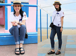 Elisa Cesarini - Cappelleria Melegari Hat, Tamaris Slippers, Ovs James, Chanel Bag, Pull & Bear Tshirt - Pins lover
