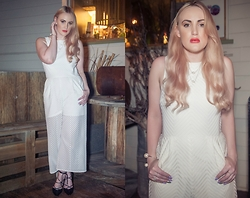 Ashleigh McCallum - Tibi Blanca Lace Jumpsuit, Wittner Rover Heel, Amber Sceats Double Pearl Necklace, Pandora Luminous Leaves & Pearl Ring, Pandora Crystallised Fancy Floral Ring - The Ivory Jumpsuit