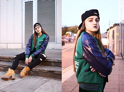 Agata Nika - Vintage Baseball Jacket, Zara Ripped Jeans, River Island Ankle Boots, New Era Snapback - Jenny from the blog