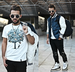 Khalil Alaoui - Http://Bit.Ly/1kzhwwn Sunnies, Soulstarclothing Jacket, Wholesale7 Pant, Dirtyvelvet Tee - ENOUGH SAID