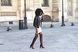 Stephanie C - Schott Nyc Leather Jacket, Tara Jarmon Thigh Boots - PERFECT THIGHBOOTS