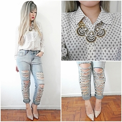 Thais Chung - Shop Tk Printed Shirt, Crystal Necklace, Shop Tk Slashed Jeans, Santa Lolla Glitter Shoes - G R L  P W R