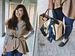 Sandra Monica - Carmel Cape, Sunnies, Minelli Espadrilles, Topshop Pants - CASUAL FALL OUTFIT - CARMEL & STRIPS