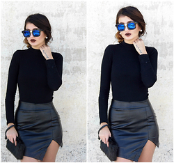 Venetia Kamara - Dresslink Leather Skirt, Dresslink Sunglasses - Total Black