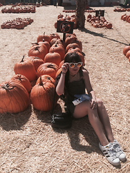 Camille Nichelini - Quay Sunnies, Brandy Melville Usa Olive Overalls, Truly Madly Deeply Striped Tank, Adidas Originals - Pumpkin Patch Kid