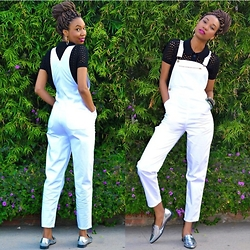 Eny K - American Apparel Knit, American Apparel Overalls, Forever 21 Metallic Loafers - WHITE OVERALLS