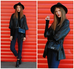 Yulia Sidorenko - Style Moi Jacket, Wholesalebuying Bag, Chicwish Hat, Sinequanone Sweater, Topshop Boots - Red wall