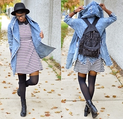 Sushanna M. - Denim Cape Coat, Houndstooth Leather Collar Dress, Mustard Tights, Asos Black Faux Over The Knee Sock Tights, Black Buckled Zippered Ankle Boots, Silver Pyramid Studded Black Backpack - The Fox & The Hound