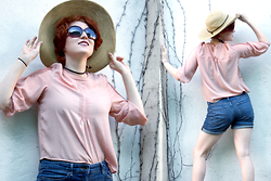 Jack Pal - Jcpenny Boyfriend Shorts, Claire's Golden Ring, Pastel Blouse, Target Sun Hat, Viva La Mexico Big Sunglasses - Lines Vines and Trying Times