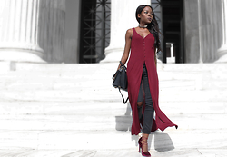 Rachel O. - Stradivarius Side Slit Top, Michael Kors Selma, Migato Lace Up - Marsala