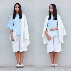 Esther L. - Jollychic Kimono Style Shirt, Missguided White Culottes, Missguided Oversized White Blazer, Zara Ugly Shoes Sandals, Wholesalebuying White Roses Clutch - MINIMAL WHITE