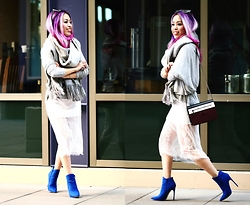 Aika Y - Forever 21 Oversized Scarf, Zara Sweater, Style Moi Lace Dress (Worn As A Skirt), Castro Crossboy Bag, Justfab Cobalt Blue Booties - Get Cozyy