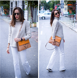 Katia Peneva - Kisterss Sunglasses, Chloé Bag, Zara Turtleneck, Gucci Flared Jeans, Adidas Sneakers - White Flared Jeans