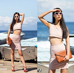 Cissy Zhang - Francis The Label Pink Co Ord, Asos Cat Eye Sunglasses, Linell Ellis Brown Camel Clutch - Pink set