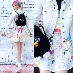 Kate Hannah - Furby Backpack (Vintage), Tempt White Denim Jacket, Pinafore Dress (Self Customized), Reebok Silver Classic, Laser Kitten 90s Pins - ~WHITE & BRIGHT~