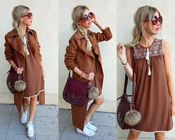 Joanna L - Hollymoda.Pl Suede Dress, Parfois Bag, Boohoo Suede Coat, Converse Sneakers - Caramel