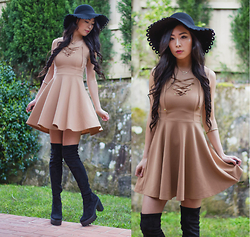 Isabel Z - Wear All Lace Up Skater Dress, Asos Over The Knee Boots - Wildest dreams
