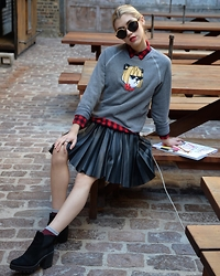 Dani Mikaela McGowan - Bow And Drape Sweatshirt, Madewell Buffalo Plaid, Aeropostale Leather Pleated Skirt - Panda Chic