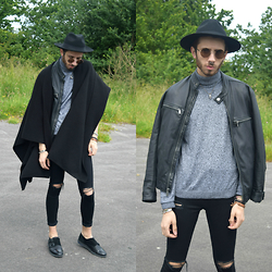 Anthony Lyngos - Topman Black Puritan Hat, Topman Round Frame Glasses, Topman Black Cape, Micheal Kors Leather Jacket, Topman Black/White Twist Roll Neck Jumper, Topshop Black Skinny High Waisted Ripped Knee Jamie Jeans, Topman Black Suede And Leather Monk Shoes - Cape Bandit
