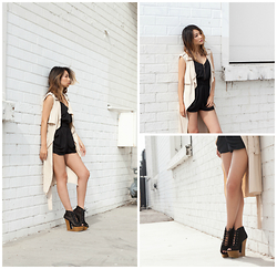 Atsuna Matsui - Aquapillar Peep Toe Lace Up Cut Out Design Platform Wedge, Urban Outfitters Romper, Papokap Longline Sleeveless Trench Coat - S'mores