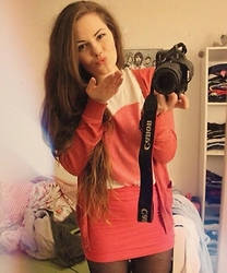Natascha C - Forever 21 Cardigan, Warehouse Heart Tshirt, H&M Pink Bodycon Skirt - Valentines 2014
