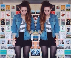 Natascha C - Forever 21 Denim Jacket, H&M Stripy Shirt A La 2009, Boohoo Scallop Shorts - We are the Kings and Queens of Suburbia