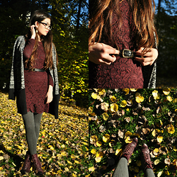 Sunniva - By Timo Dress, Face Boots, Snob Cardigan - Burgundy for autumn ground breaking