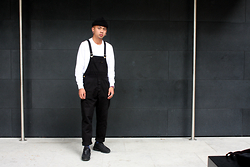Dan Pantoja - American Apparel Black Cuffed Beanie, As Colour Base L/S Tee, Rollas Black Dungarees - HEY WASSUP HELLO Δ