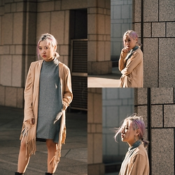 Sebelle Sharmine - Young Hungry Free Grey Turtleneck Dress, Choies Waterfall Suede Fringe Outerwear - It's No Longer Summer Here