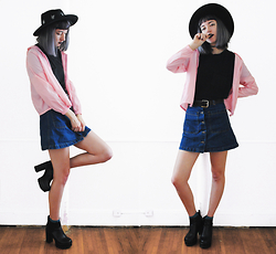 Gigi M. - Wholesale 7 Pink Jacket, Yoins Denim Skirt - Pink and Denim