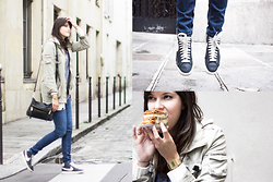 Nesrine Bendriss - Massimo Dutti Bag, H&M Parka, Nike Blazer, Casio Watch, Asos Badges, Massimo Dutti Jeans, Forever 21 Sweat, H&M Cardigan - Fall in the streets of Marais (Paris)