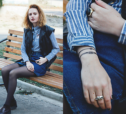 Kristina Magdalina - Yoins Jacket, Choies Shirt, Paperself Tattoo - Stripes and leather.