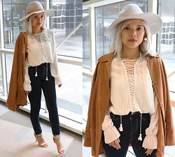 Kash Zabala - H&M Hat, H&M Earrings, Forever 21 Jeans, Forever 21 Heels - Lace Up Chic