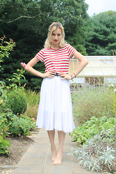 Liz Benichou - Forever 21 Striped T Shirt, Topshop White Midi Skirt - Red Lips & Hamptons Gardens