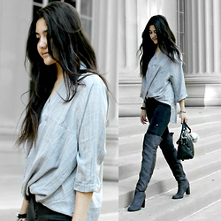 Florencia R - Necessary Clothing Drape Top, Zara Moto Jeans, Primark Over The Knee Boots, Linea Pelle Eden Bag - Greyscale