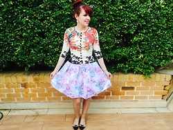 Imogen O - Wheels & Dollbaby Kimono Cardigan, B.A.I.T Footwear Gloria Flats, Forever New Molly Printed Tafetta Prom Skirt - Bright Florals & Pastel Florals