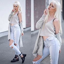 Oksana Orehhova - Sheinside Cardigan, Sheinside Top, Sheinside Boots, Fashion Nova Jeans - LET'S GET COZY