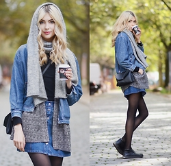 Ebba Zingmark - & Other Stories Scarf, Monki Grey Blazer, 2hand Jeans Jacket, Monki Bag, Borrowed Skirt, Henry Kole Boots - SAY SOY CAPPUCHINO