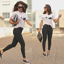 Natalia M - Choies Sheeps Tee, Zara Jeans, Zara Bag, Vans Black - BLACK SHEEP