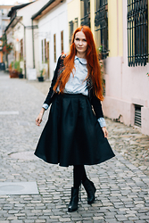 Dominika Cupkova - Toms Wedges, French Toast Shirt, Sheinside Midi Skirt, Sheinside Embroided Jacket - Folk soul