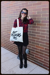Amanda - Mandee Plaid Button Down, Bar Iii Skort, Madden Girl Combat Boots, Jpo Art Not Kansas Tote, Forever 21 Sunglasses, Urban Outfitters Tights - Not Kansas
