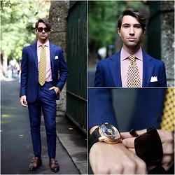 Filippo Fiora - Audemars Piguet Watch, Ermenegildo Zegna Tie, Richard James Suit, Massimo Alba Shirt - BLUE SUIT FUN
