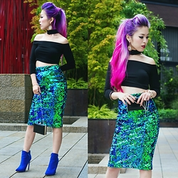 Aika Y - Style Moi Choker Neck Off Shoulder Top, Style Moi Sequin Midi Skirt, Aldo Statement Earrings, Just Fab Cobalt Blue Booties, Ami Clubwear Mini Clutch, Aveda Deep Red Lip Glaze - Mermaid Sequin