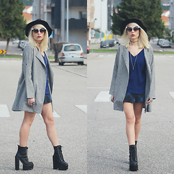Cátia Gonçalves - Dealsale Sunnies, Dealsale Jacket, Parfois Black Hat, Zara Shirt, Bershka Skort, Jeffrey Campbell Boots - Love hurts but sometimes it's a good hurt