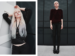 Anna Jaroszewska - Mohito Shirt, H&M Bra, Pierce Of Cake Septum Clicker, Necklace, Mohito Fluffy Sweater, H&M Jeans, H&M Shoes - Back in black