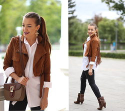 Sandra Bendre - Romwe Jacket, Jessica Buurman Boots - Brown fringes