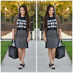 Kimberly Kong - Our World Boutique Cardi, Sincerely Jules' Tee, Talbots Skirt, Chicwish Bag, Castro Heels - 8 Pieces, 8 Ways: Look 3