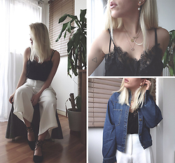 Dena T. - Sheinside Lace Top, Sheinside Denim Jacket - BLACK LACE & BLUE DENIM